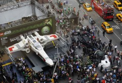 World's largest Lego modelled after the Star Wars X-wing starfighter is seen at Times Square after being unveiled in New York