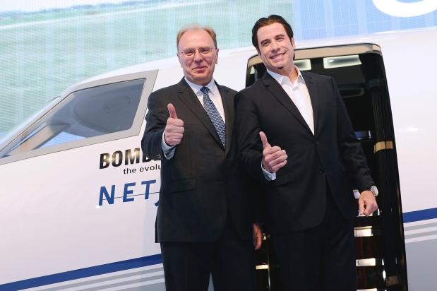 John Travolta presenta en EBACE el nuevo Bombardier Challenger 350