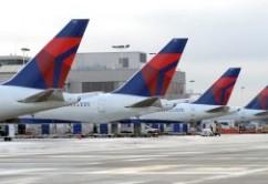 Delta aviones estacionados