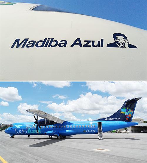 Azul pinta rosto de Mandela em fuselagem de avião; veja