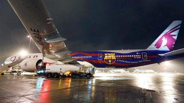 Los aviones de Qatar Airways ya lucen los colores del Barcelona