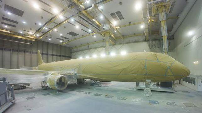 La pintura del avión: un vestido de 100 kilos