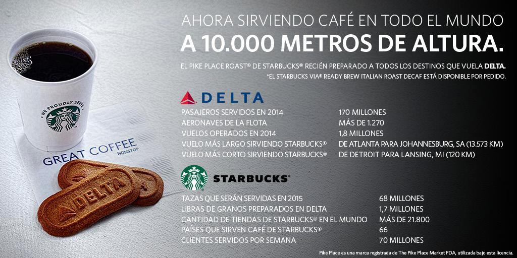 Delta servirá café de Starbucks en todos los vuelos alrededor del mundo