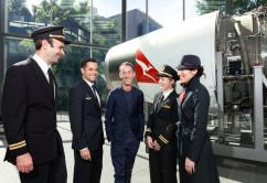 Martin Grant with Qantas pilots and cabin crew