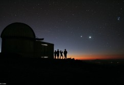 The starry night invites to go out and look to the stars, even if you have professional telescopes at hand. The dome in the image belongs to the TRAPPIST robotic telescope, that had first light at ESO's La Silla Observatory, in Chile, in June 2010. TRAPPIST stands for TRAnsiting Planets and PlanetesImals Small Telescope.