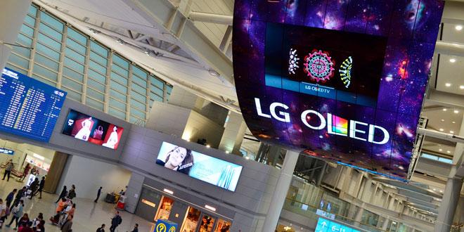 Despliegan pantallas OLED más grandes del mundo en aeropuerto de Corea del Sur