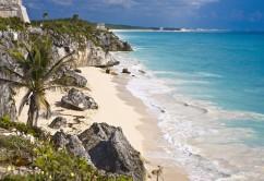 High angle view of rocks on the beach, Zona Arqueologica De Tulum, Cancun, Quintana Roo, Mexico