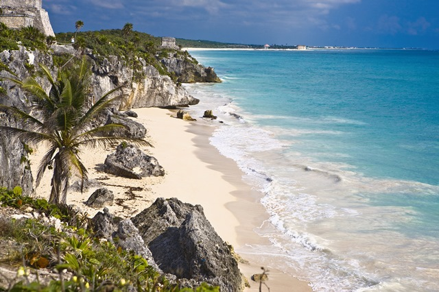 High angle view of rocks on the beach, Zona Arqueologica De Tulum, Cancun, Quintana Roo, Mexico