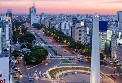 View over Avenida 9 Julio and the obelisk in Plaza Republica, Buenos Aires, Argentina.