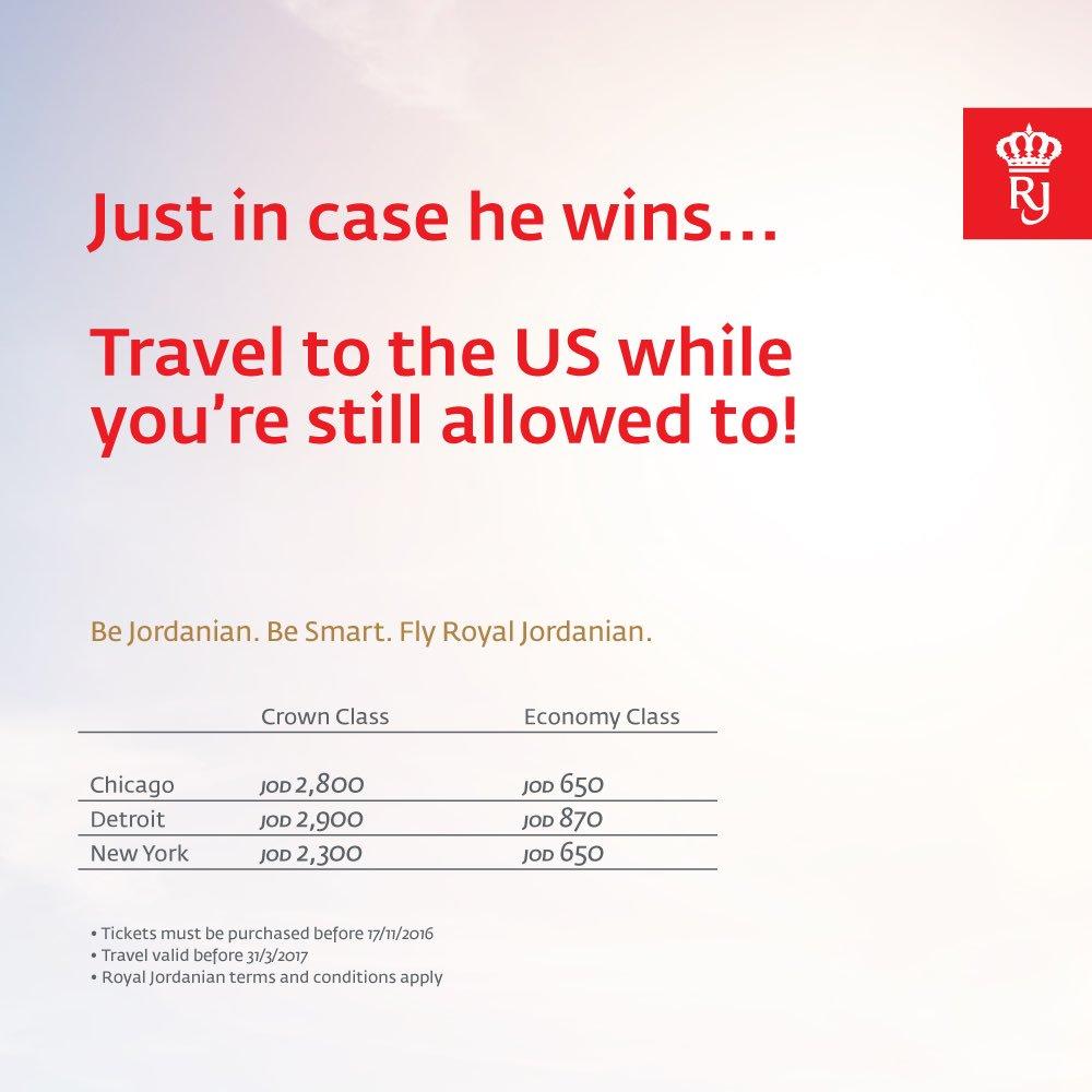La irónica promoción de una línea aérea árabe el día de las elecciones en Estados Unidos