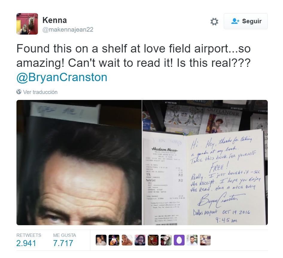 El regalo que dejó el protagonista de Breaking Bad en un aeropuerto