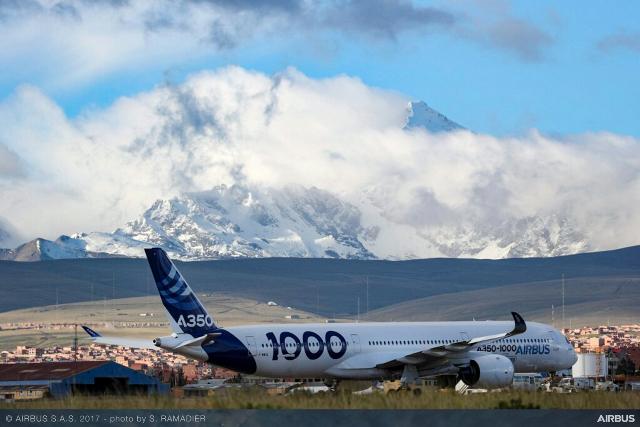 """El A350-1000 realizó campaña de ensayos en vuelo """"High and Warm"""" """"'a gran altitud y altas temperaturas""""' en Latinoamérica"""