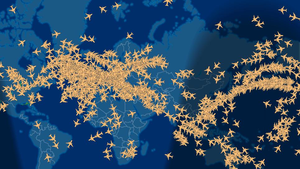 Los fascinantes mapas que muestran la congestión del tráfico aéreo mundial y los planes de la NASA para controlarla