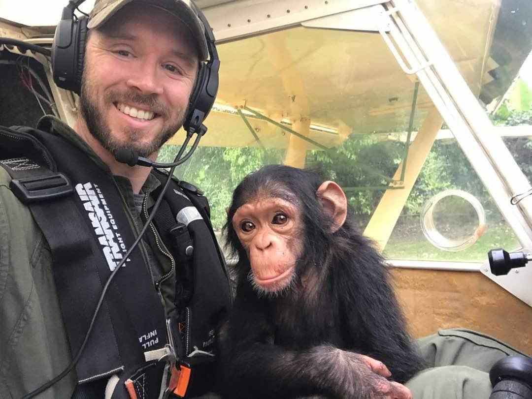 El emotivo viaje en avión de un piloto y la cría de chimpancé que acaba de salvar
