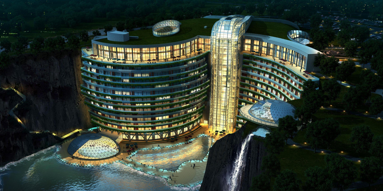 Convirtieron una gigantesca mina abandonada en uno de los hoteles más lujosos de China