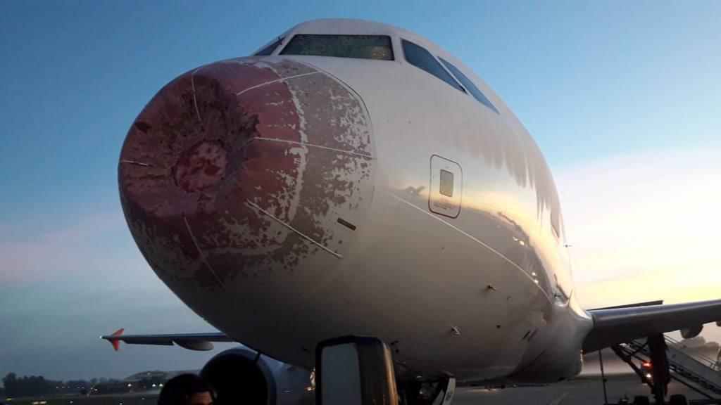 """Granizos destrozan """"trompa"""" de avión Latam que se dirigía a Santiago: debió aterrizar en Argentina"""