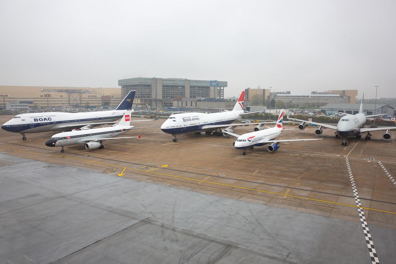 British Airways reune los cuatro aviones con liverys retros en el marco de su 100 aniversario