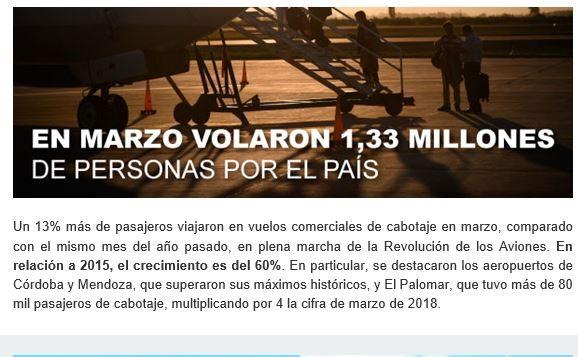 """Argentina: Ministerio de Transporte lanza boletín con novedades de la """"Revolución de los aviones"""""""