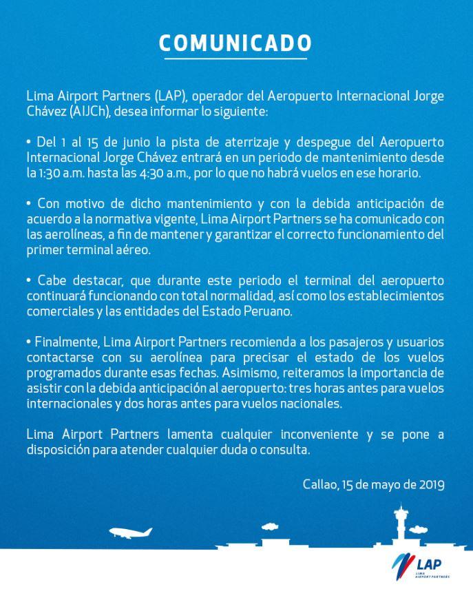 Aeropuerto Jorge Chávez: anuncian suspensión de vuelos por obras en pista de aterrizaje