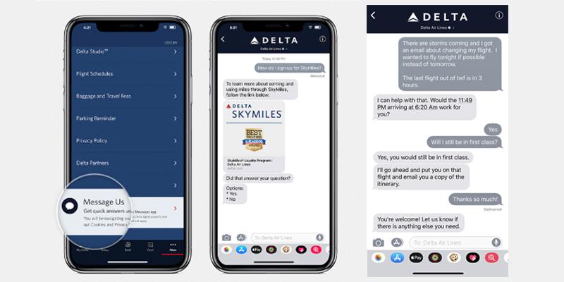 Delta se convierte en la primera aerolínea en utilizar la aplicación Mensajes Apple Business Chat