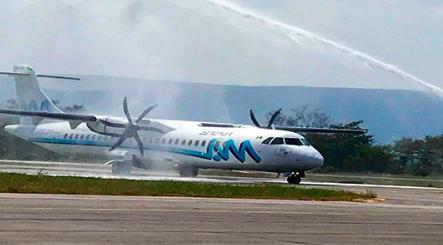 Aterriza primer vuelo de Aeromar en el Aeropuerto de Tamuín