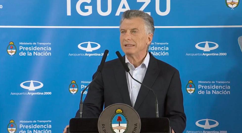 Mauricio Macri inauguró la nueva ruta aérea Puerto Iguazú-Madrid