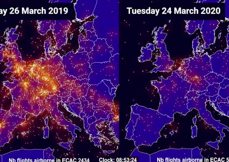El desplome histórico del tráfico aéreo de Europa en imágenes y cifras