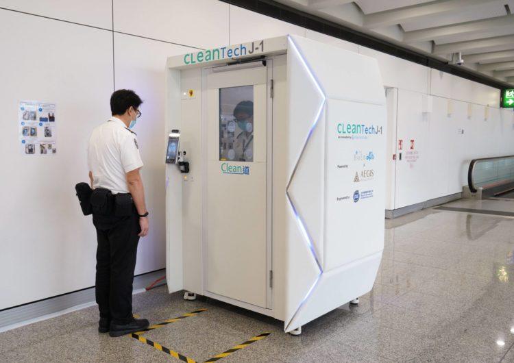 Hong Kong: así desinfectan a las personas y las instalaciones en aeropuertos