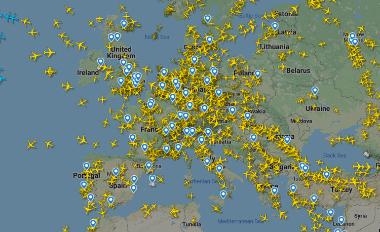 Flight radar reveals how Europe's skies are getting BUSIER with hundreds of flights jetting across the continent