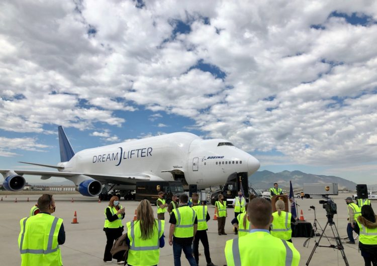 Boeing Dreamlifter Transports 500,000 Protective Face Masks for Utah Students and Teachers
