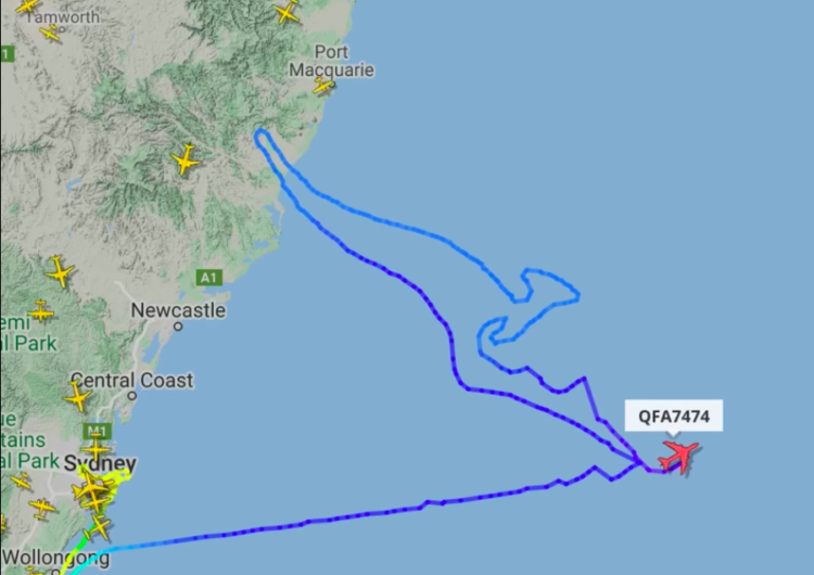 El adiós al B747 de Qantas con un canguro en el cielo