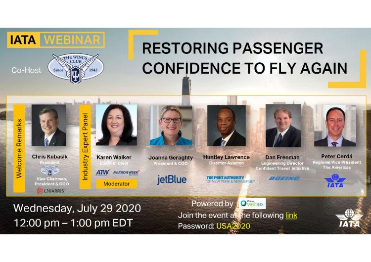 """""""Restoring Passenger Confidence to Fly"""": IATA invita a una nueva conferencia virtual, esta vez enfocada en los Estados Unidos"""