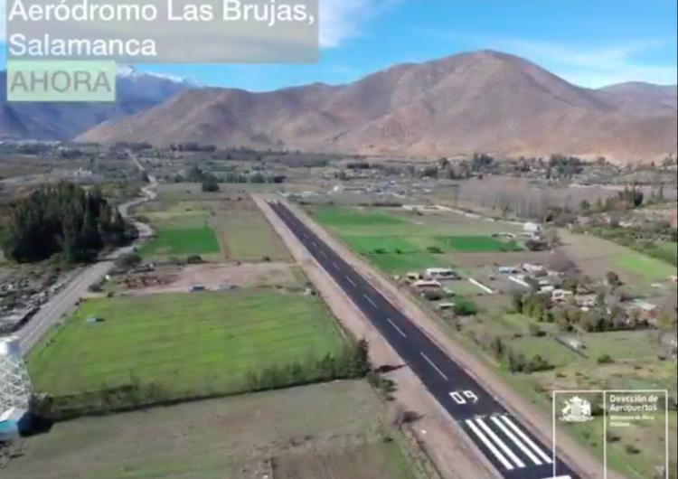 """Chile: Mejoras en el Aeródromo """"Las Brujas"""" de Salamanca, benefician a 29.000 chilenos"""