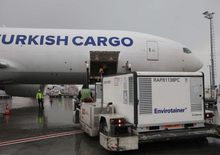 Boeing 777F de Turkish Cargo arriba al Aeropuerto de São Paulo con vacunas COVID-19