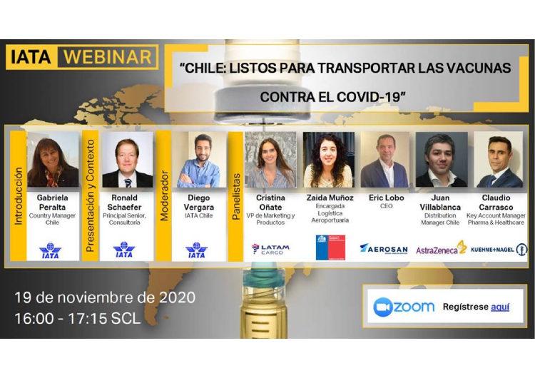 IATA invita al webinar 'Chile: Listo para transportar las vacunas del COVID-19'