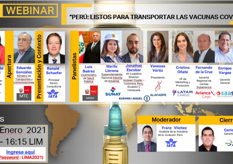 IATA invita al webinar 'Perú: Listos para transportar las vacunas Covid-19'