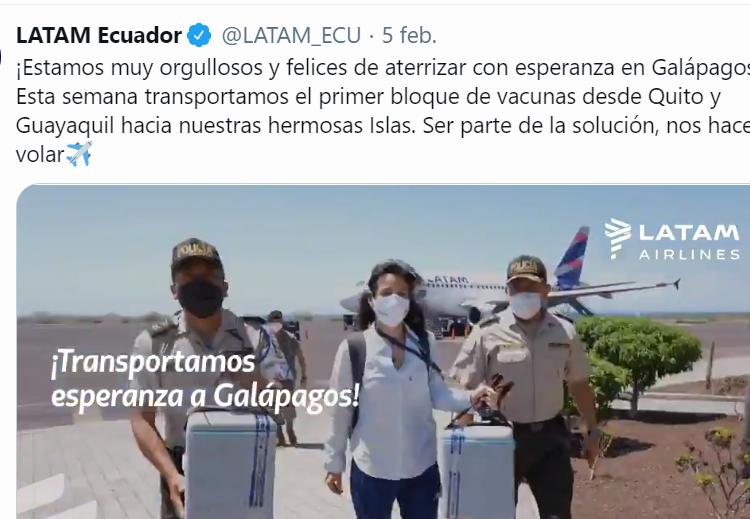 LATAM trasladó primeras vacunas hacia Galápagos