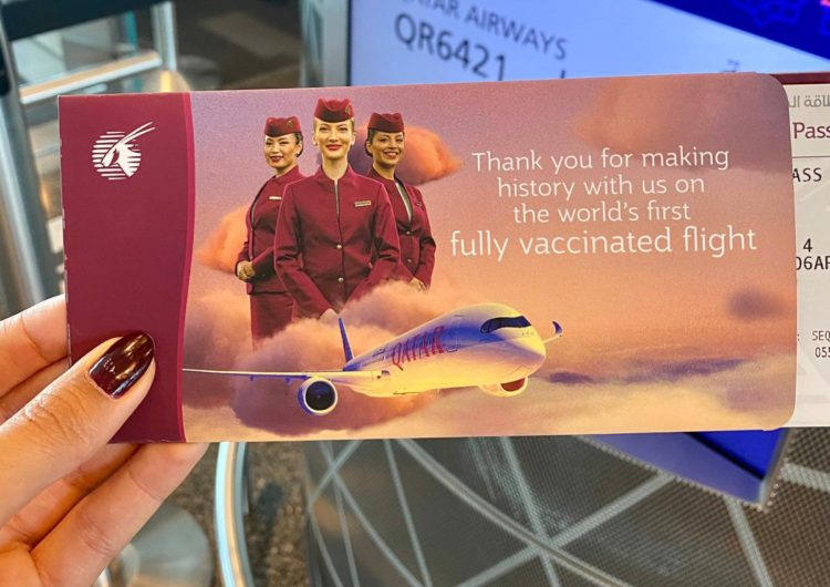 Qatar Airways opera el primer vuelo del mundo totalmente vacunado contra Covid-19