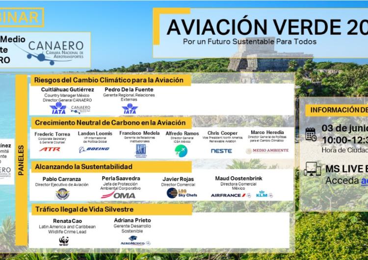 """Industria Aérea en México se reunirá en el webinar """"Aviación Verde 2021: Por un futuro sostenible para todos"""""""