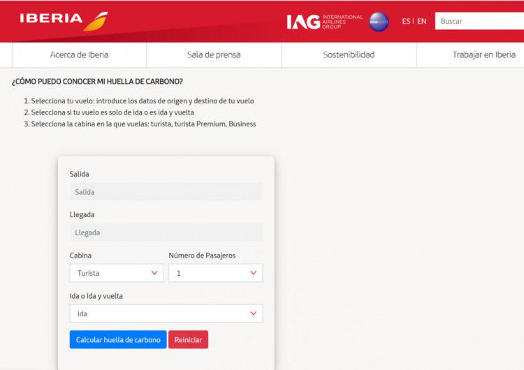 Iberia pone en marcha una calculadora para que los clientes conozcan las emisiones derivadas de sus viajes