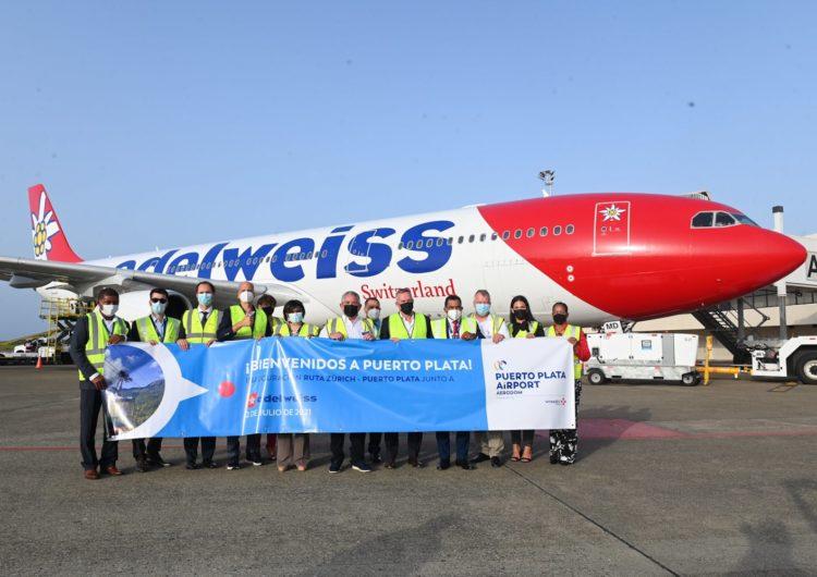 Aerolínea Edelweiss realiza vuelo directo desde Suiza a Puerto Plata