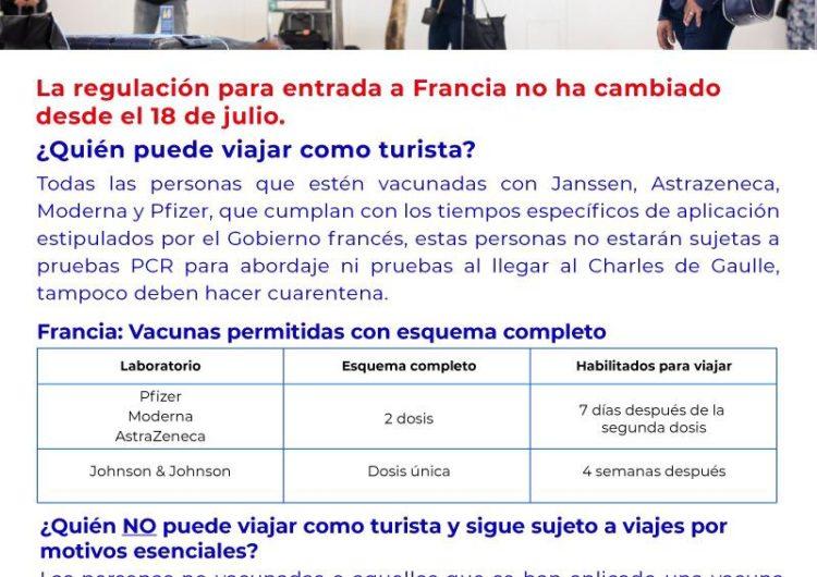 Turistas colombianos pueden seguir viajando a Francia con su esquema de vacunación completo