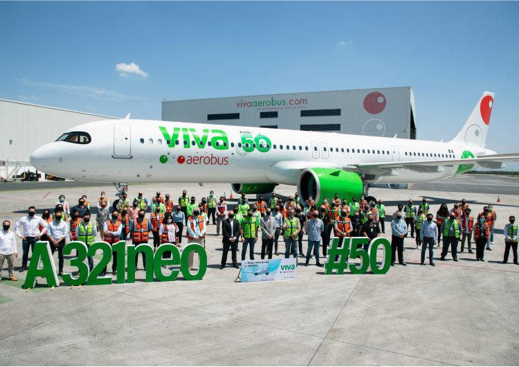 Viva Aerobus recibe su emblemático avión # 50, un Airbus A321neo